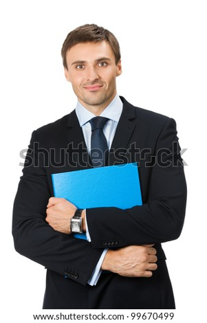 Portrait of happy smiling business man with blue folder, isolated over white background