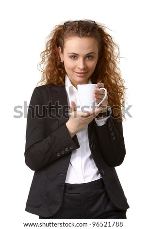 Portrait of happy smiling business woman with cup of drink. Over white background - stock photo