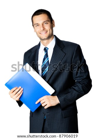 Portrait of happy smiling businessman with blue folder, isolated on white background