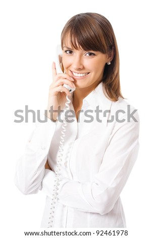 Portrait of happy smiling cheerful beautiful young businesswoman with phone, isolated over white background