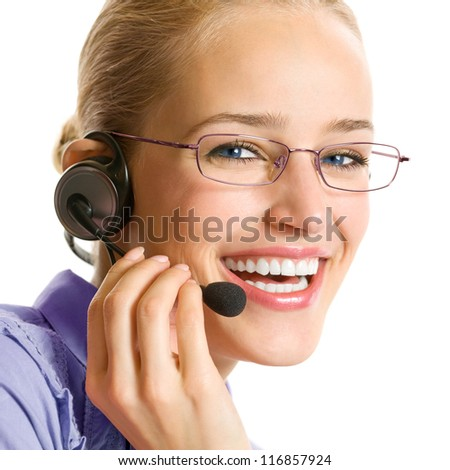 Portrait of happy smiling cheerful beautiful young customer support phone operator in headset, isolated over white background