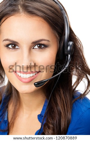 Portrait of happy smiling cheerful beautiful young support phone operator in headset, isolated over white background