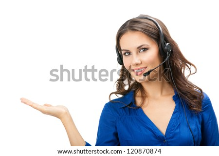 Portrait of happy smiling cheerful beautiful young support phone operator showing; isolated over white background