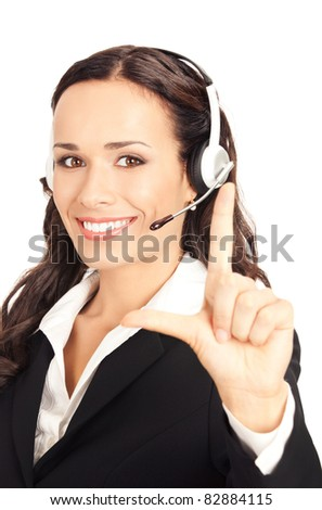 Portrait of happy smiling cheerful customer support phone operator in headset showing two fingers, isolated on white background