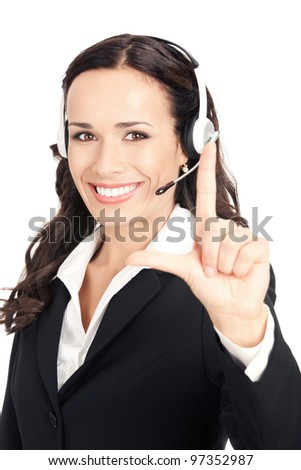 Portrait of happy smiling cheerful customer support phone operator in headset showing two fingers, isolated over white background