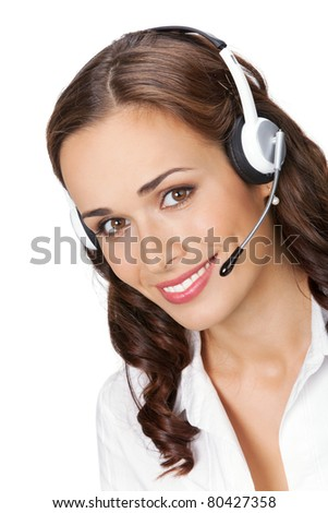 Portrait of happy smiling cheerful young support phone operator in headset, isolated on white background