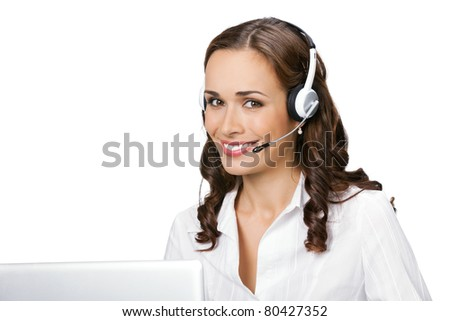 Portrait of happy smiling cheerful young support phone operator in headset with laptop, isolated on white background