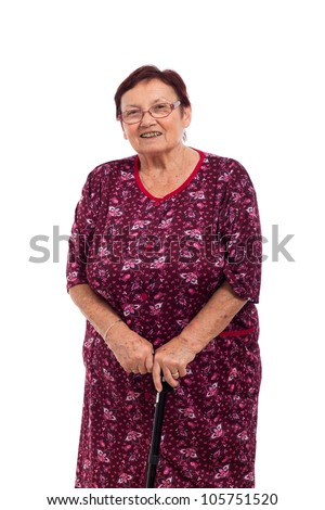 Portrait of happy smiling elderly woman with walking stick, isolated on white background.