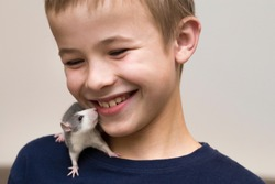 Portrait of happy smiling funny cute handsome child boy with white pet mouse hamster on shoulder on light copy space background. Keeping pets at home, care and love to animals concept.