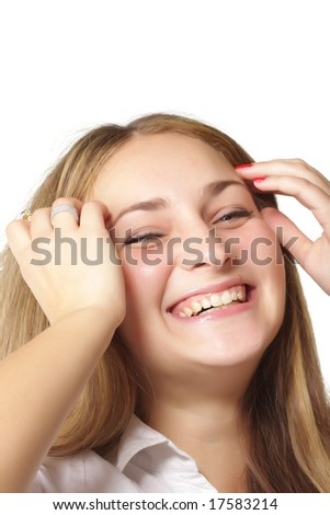 Portrait of happy smiling girl over white background - stock photo