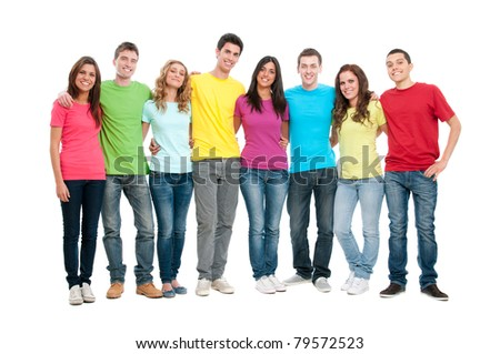 Portrait of happy smiling group of young friends together isolated on white background
