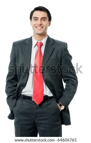 Portrait of happy smiling successful businessman, isolated on white background - stock photo