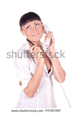 Portrait of happy smiling support phone operator