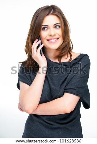 Portrait of happy smiling woman dressed in a gray blouse, Isolated on white background use phone.