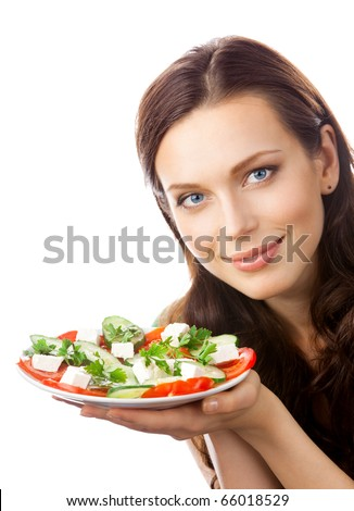 Portrait of happy smiling woman with plate of salad, isolated on white background