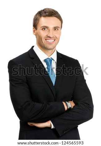 Portrait of happy smiling young business man, isolated over white background