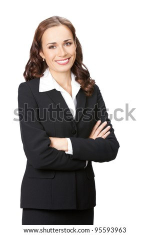 Portrait of happy smiling young business woman in black suit, isolated over white background