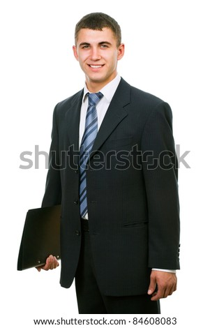Portrait of happy smiling young businessman, isolated on white background
