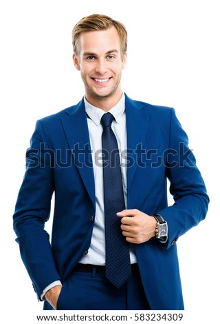 Portrait of happy smiling young businessman, isolated on white background. Business success concept. #583234309