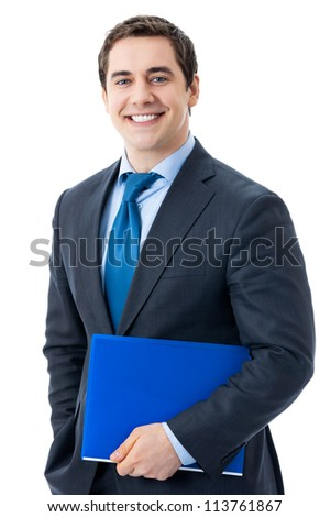 Portrait of happy smiling young businessman with blue folder, isolated over white background - stock photo