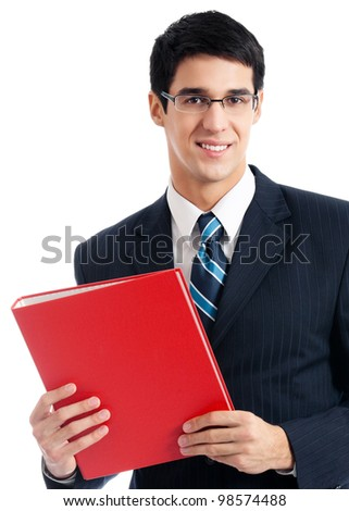 Portrait of happy smiling young businessman with red folder, isolated over white background - stock photo