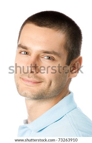 Portrait of happy smiling young man, isolated on white background