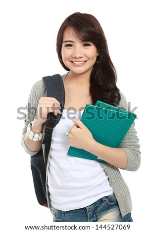 portrait of happy student ready go to campus