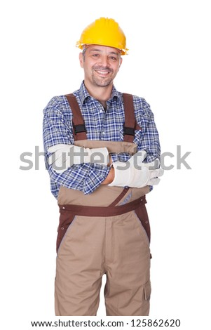 Portrait Of Happy Technician Isolated On White Background