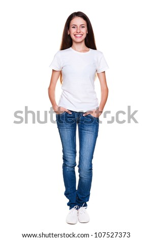 portrait of happy teenager in white t-shirt and jeans. isolated on white background