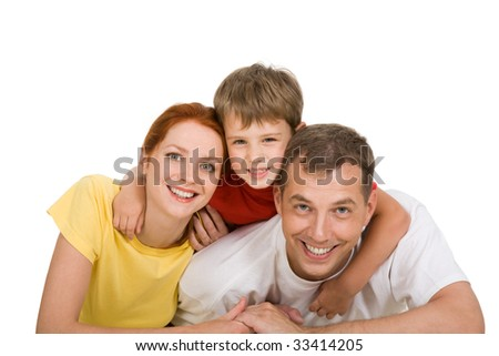 Portrait of happy three people looking at camera