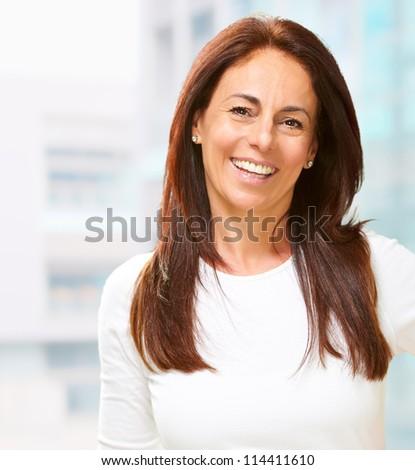 Portrait of happy woman, indoor