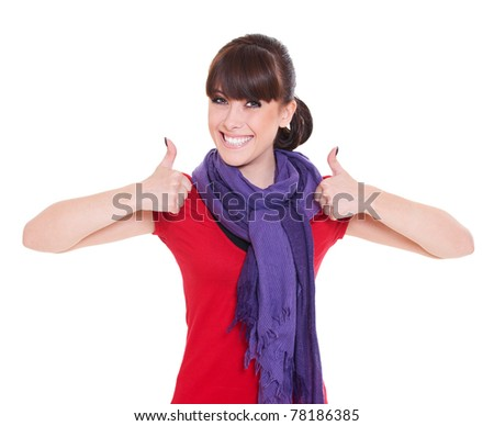 portrait of happy woman showing thumbs up - stock photo