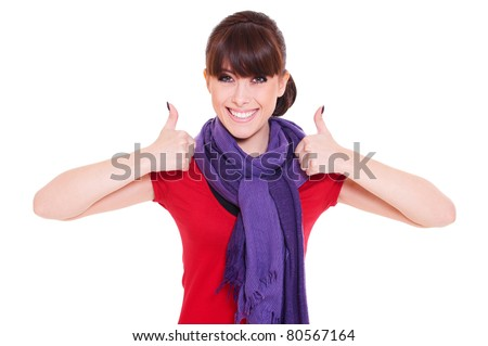 portrait of happy woman showing thumbs up. isolated on white background