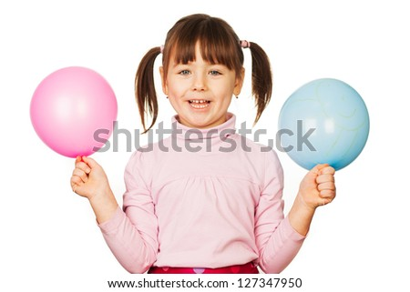 Portrait of happy woman with blue and pink balloons, white background. #127347950