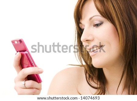 portrait of happy woman with pink phone