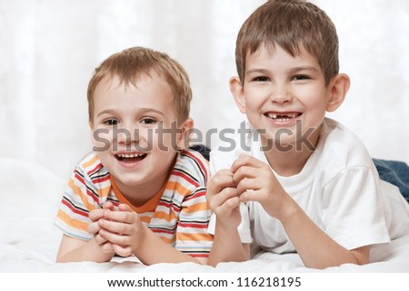 Portrait of happy young boys