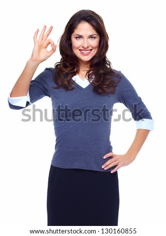 Portrait of happy young business woman isolated on white background.