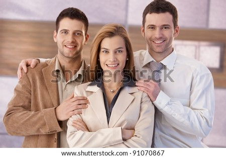Portrait of happy young businesspeople, smiling.?
