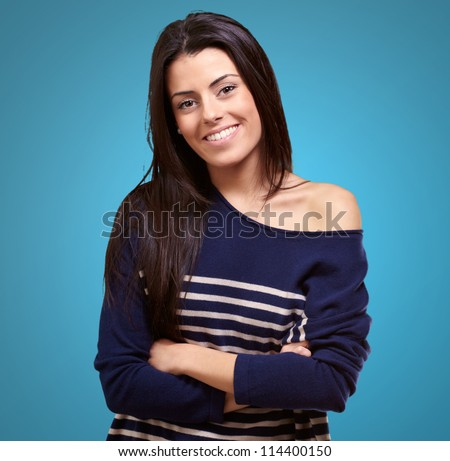 Portrait Of Happy Young Girl On Color Background
