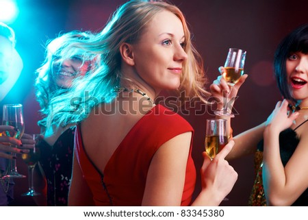 Portrait of happy young girl on the party - stock photo