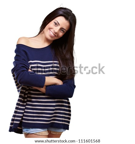 Portrait Of Happy Young Girl On White Background