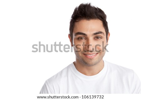 Portrait of happy young man isolated on white background.