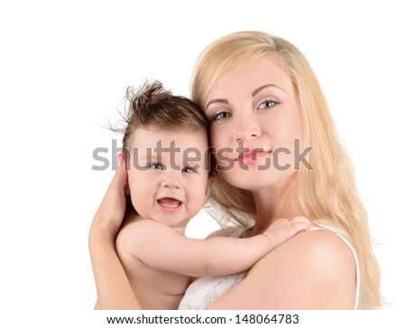 Portrait of happy young mother with her baby isolated on white background