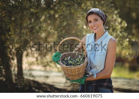 Portrait of happy young woman holding olives in basket at farm