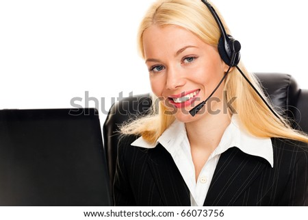 Portrait of happy young woman with headphones on white background