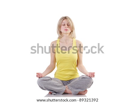 Portrait of healthy girl practicing yoga. Isolated on white background