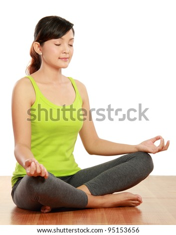 portrait of healthy woman doing meditation