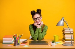 Portrait of her she attractive brainy intellectual creative cheerful cheery girl geek programmer working, remotely creating solution decision isolated bright vivid shine vibrant yellow background