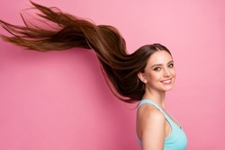Portrait of her she nice attractive lovely charming cheerful cheery straight-haired girl ideal silky hair flying anti dander dandruff procedure isolated on pink pastel color background