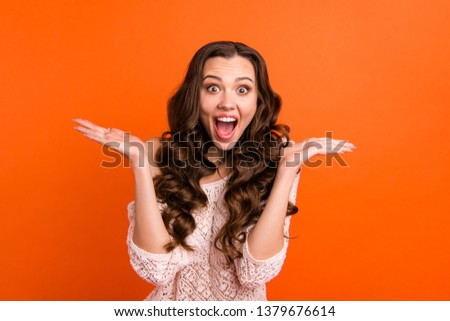 Portrait of her she nice attractive lovely charming cute cheerful cheery wavy-haired lady showing excitement isolated over bright vivid shine orange background #1379676614